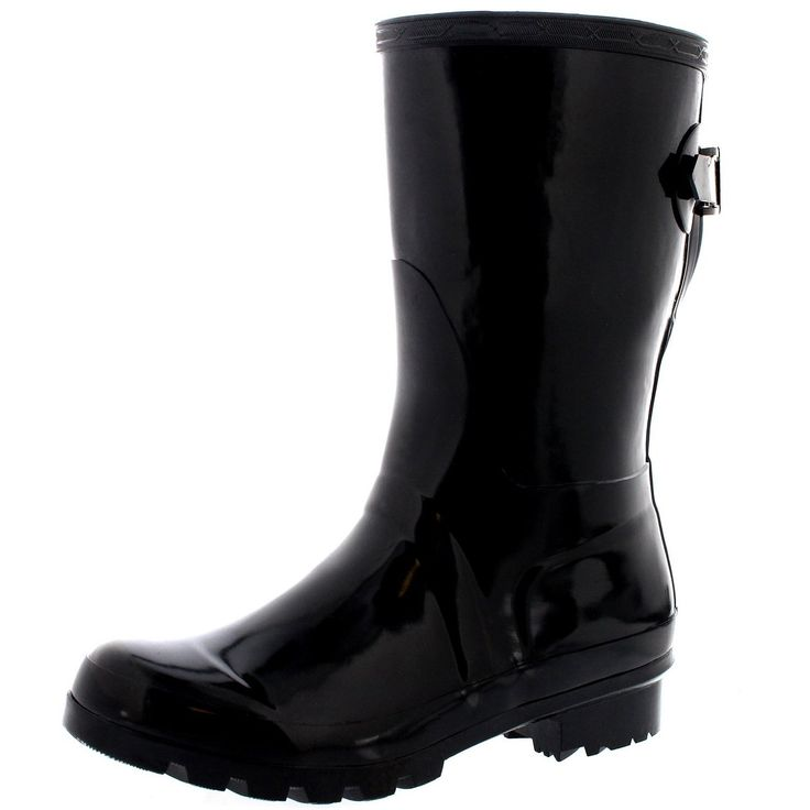 Womens Original Short Adjustable Back Gloss Rain Rubber Festival Wellies -- Find out more about the great product at the image link.