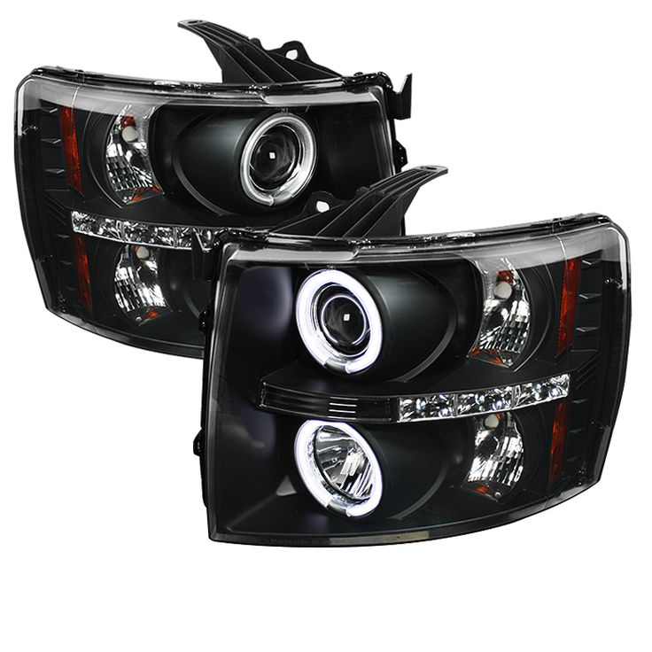Chevrolet Silverado 1500/2500/3500 2007-2011 Ccfl LED Projector Headlights  - Black