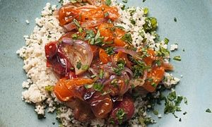 nigel slater's roast tomatoes with mint + parsley couscous