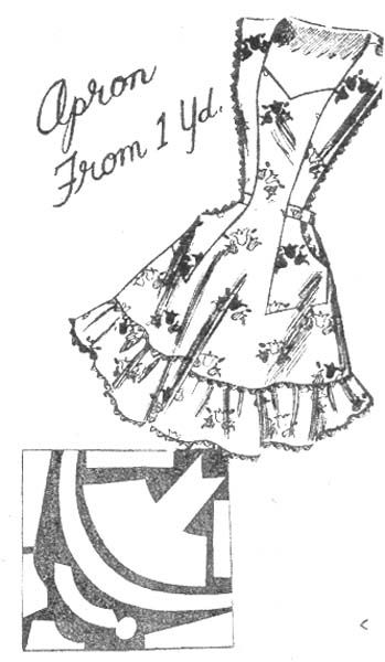 Commercial Pattern Archive: Vintage Sewing: Syndicate 2337 c.1956 One Yard Apron. Click on broken link for pattern pieces.