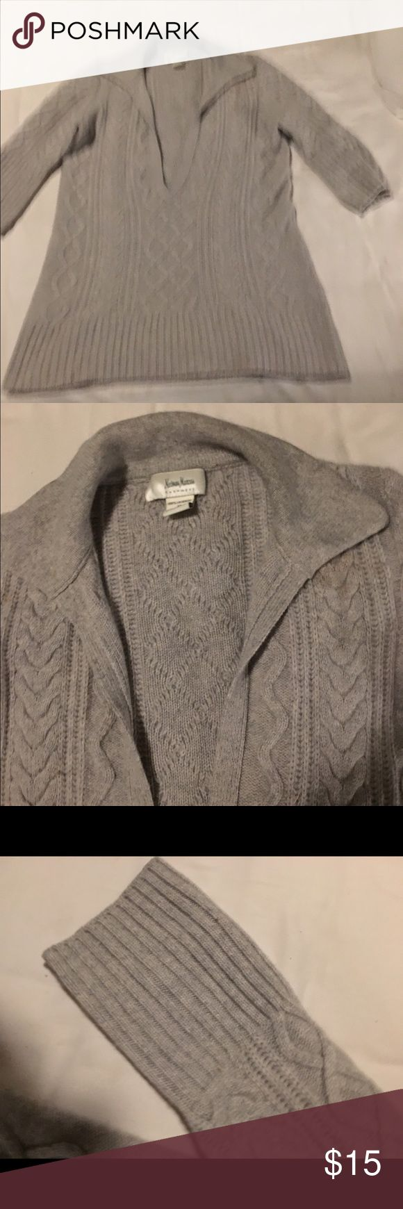 Neiman Marcus cashmere sweater My friend asked me sell her clothes with any price and bundle 3 or more gets 15 % off . Be honest as I was with her when she bought this . I still wonder why she said sell cheap and asked the money goes to the cancer society . This is double played cashmere sweater long and very cozy is made by nemian Marcus . Very classy Neiman Marcus Sweaters V-Necks