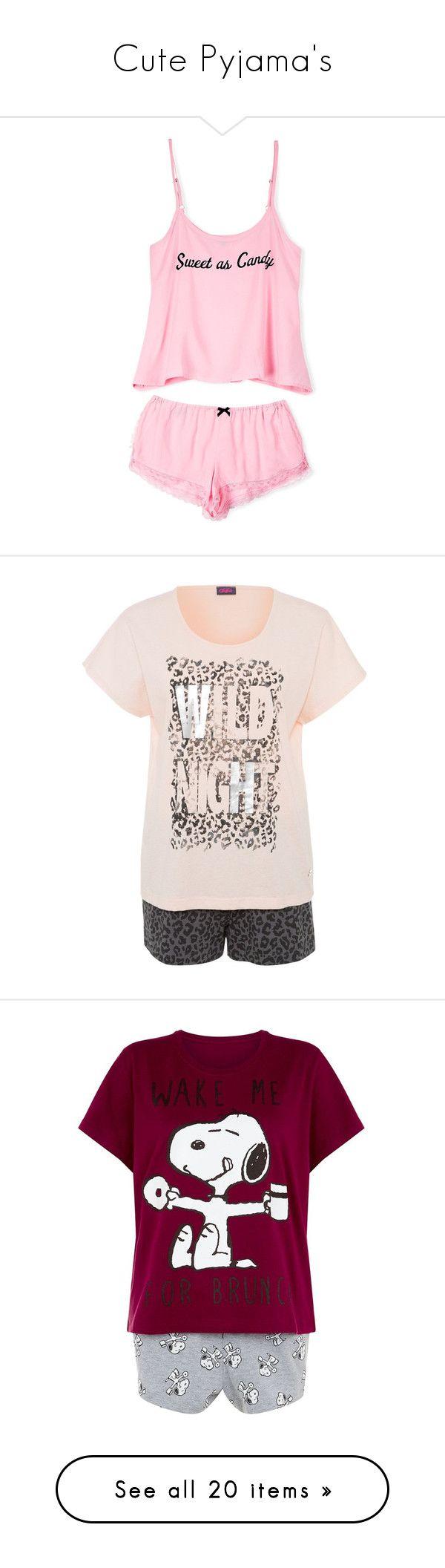 """""""Cute Pyjama's"""" by marinavl ❤ liked on Polyvore featuring intimates, sleepwear, pajamas, tops, pijamas, shirts, black, cotton pajamas, cotton sleepwear and petite sleepwear"""