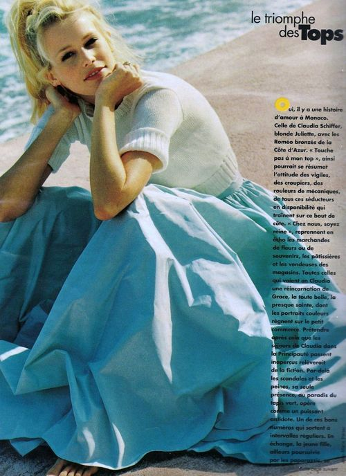 "80s-90s-supermodels:  ""Magic Claudia"", Elle France, August 1994Photographer: Jean-Marie PerierModel: Claudia Schiffer"