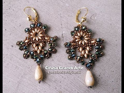 Il mio 1° Tutorial - Orecchini NOTE con Cipollotti Rocailles Superduo o twin - Earrings Bijoux DIY - YouTube