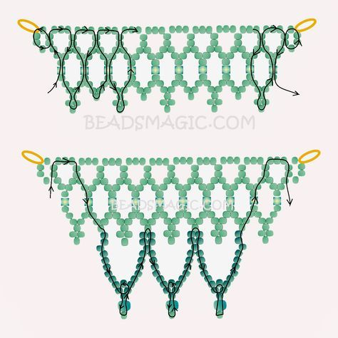 FREE Pattern Necklace SNOW TOUCH. Use: seed beads 11/0, cube beads 4mm, seed beads 6/0 or round beads 4mm. Page 2 of 2