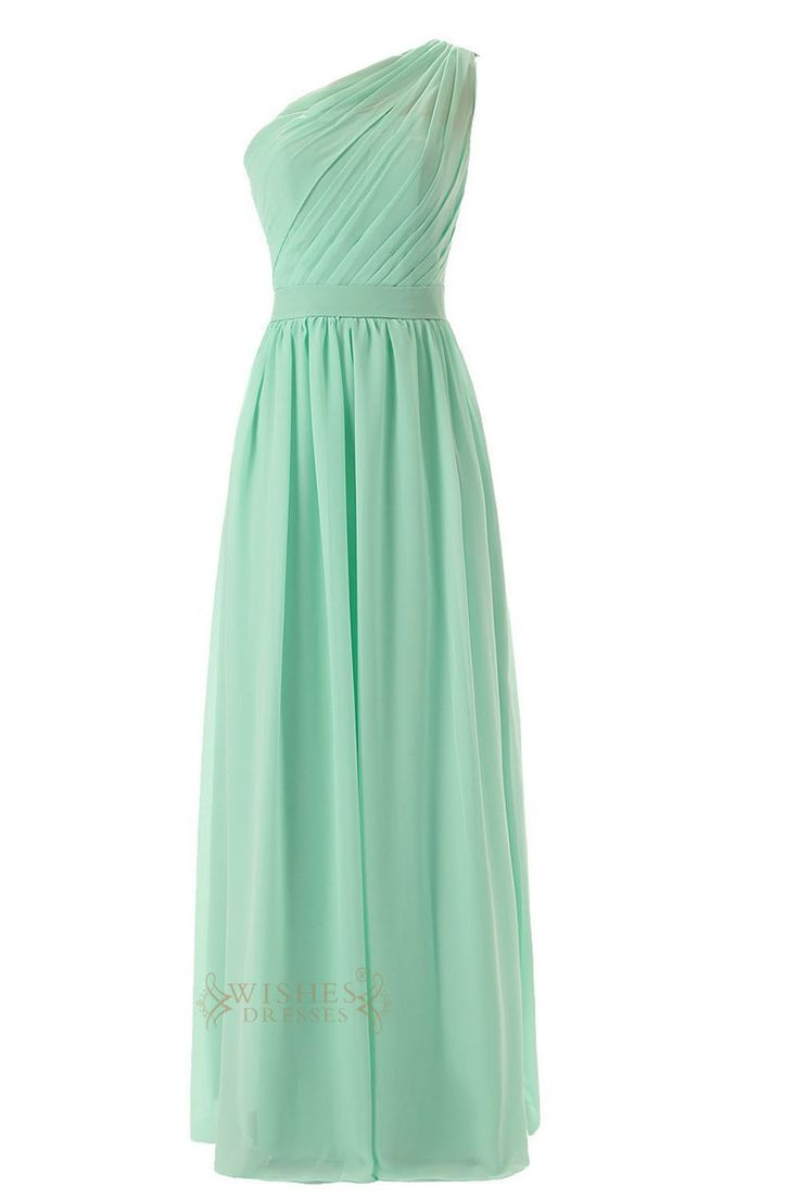 732 best bridesmaid dresses images on pinterest newport babies delicated ruched one shoulder mint chiffon floor length bridesmaid dress am55 ombrellifo Image collections