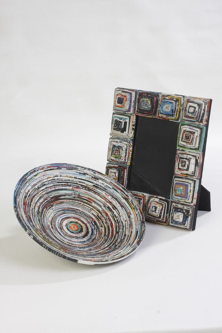 This bowl and photo frame have been handmade from recycled newspaper in Indonesia and will be a real talking point in any home