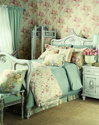shabby chic bedroom in aqua