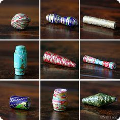 paper bead variety--different styles and jewelry made with them