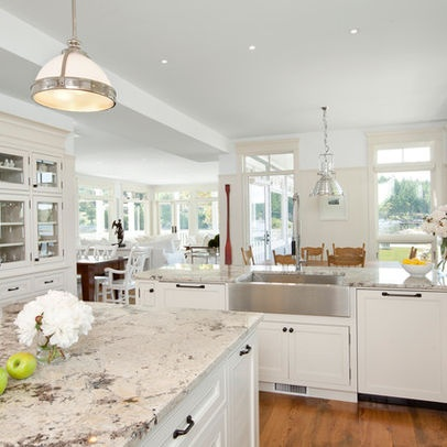 Alaska White Granite and Behr Off white cabinets Design Ideas, Pictures, Remodel, and Decor