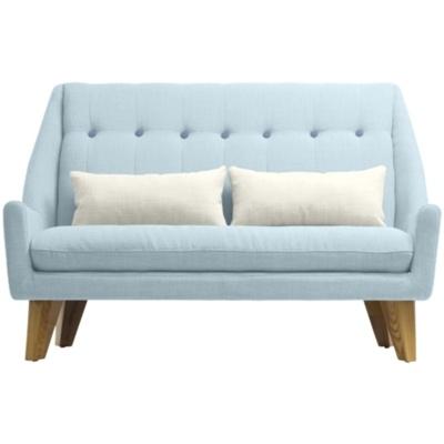 Canapé 2 places en {mat}. Design inspiré des années 50. Tissu propriétés déperlantes.