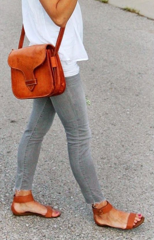 tan bag & sandals, grey ankle skinnies and white tee