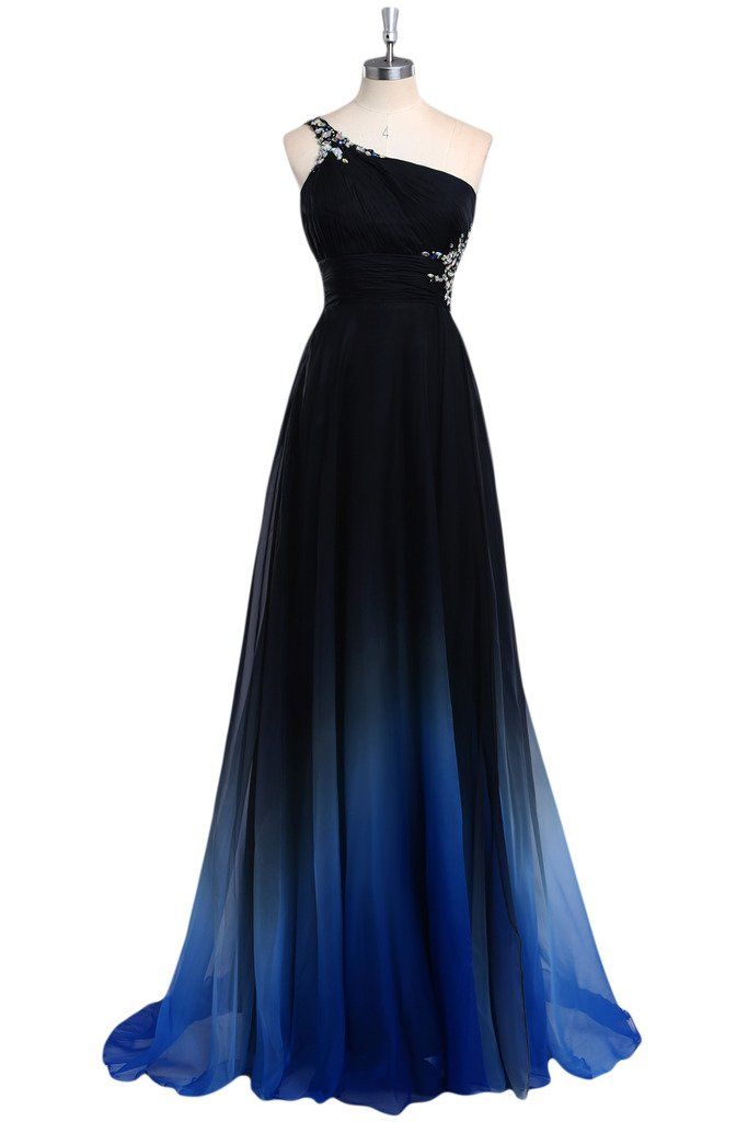 Audrey Bride 2015 Gradient Color Prom Evening Dress Beaded One-Shoulder Ball Gown-XS-Blue