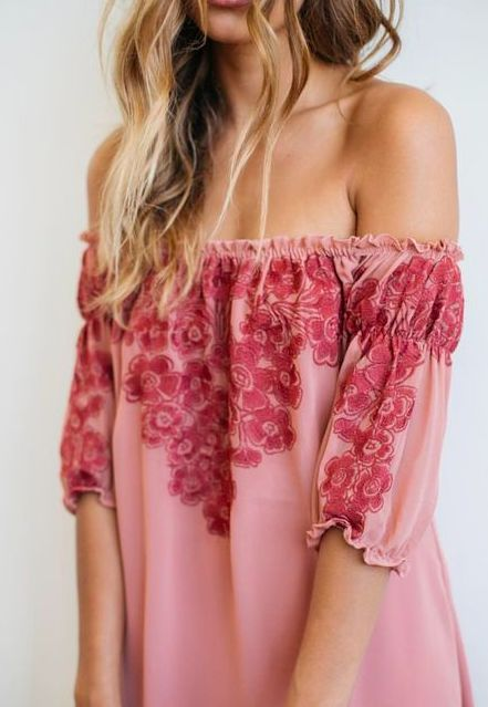 off the shoulder summer style!! Love the embroidered look!