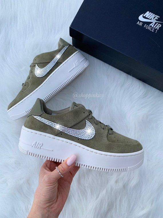 Swarovski Nike Air Force 1 Sage Low Blinged Out With Swarovski ... b98dec152b