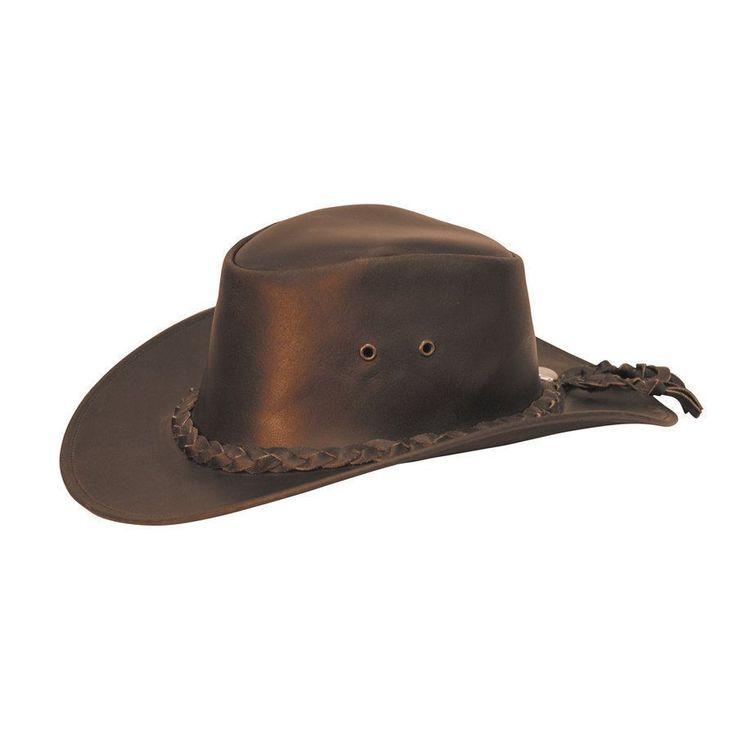 Cappello western in cuoio con laccio e treccia