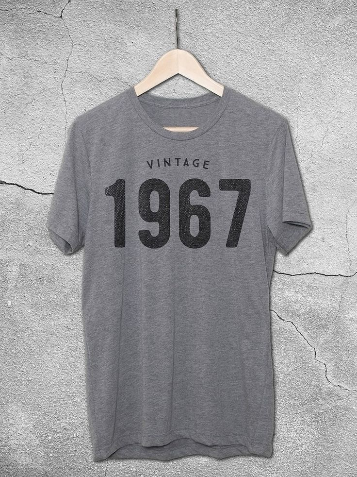 The perfect 50th birthday gift for men and women! This unisex tees features the Vintage 1967 graphic printed on a soft vintage gray t-shirt.