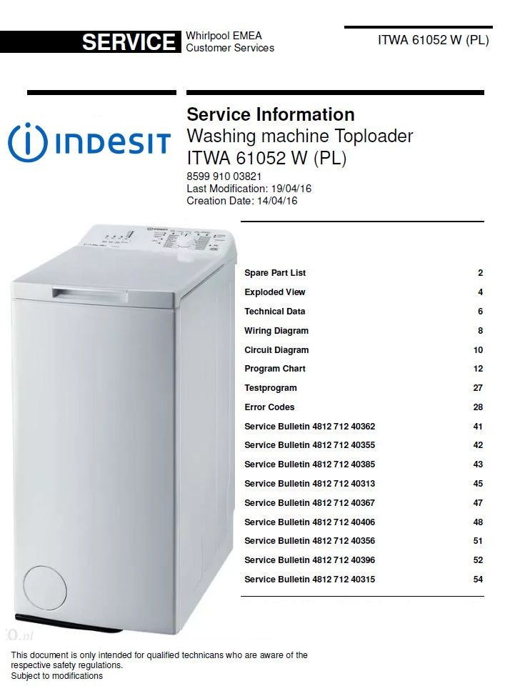 Indesit Itwa 61052 W Pl Washing Machine Service Manual Washing Machine Service Washing Machine Manual