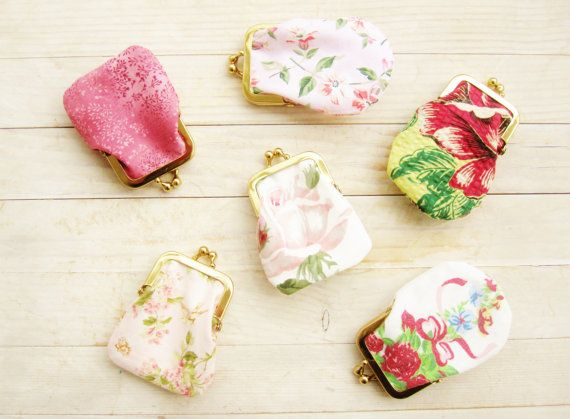 Mini coin purse kiss lock tiny wallet clip frame change purse 4 options rose flower bird leaf light pink green gold gift for her