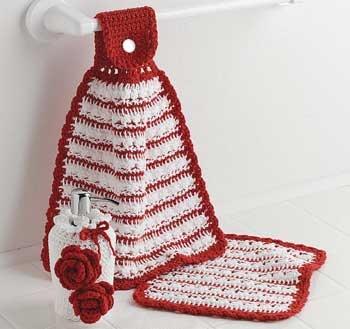 Red Rose Kitchen Set free crochet pattern