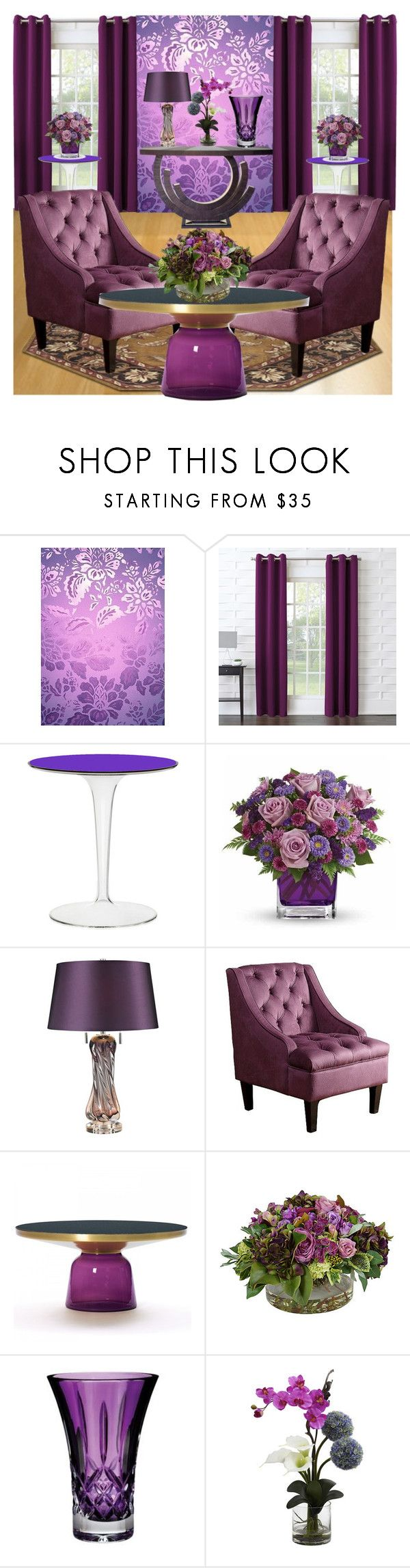 """""""Purple Sitting Room"""" by aharcaki ❤ liked on Polyvore featuring WALL, Sun Zero, Kartell, Universal Lighting and Decor, Surya, Abbyson Living, The French Bee, Waterford and Nearly Natural"""