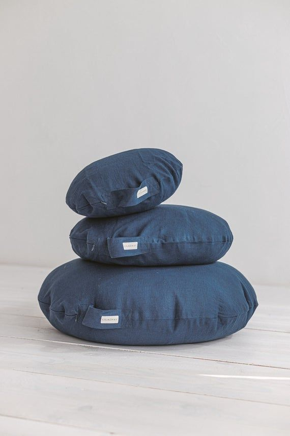 Large Floor Pillow With Linen Cover And Organic Filling Yoga Meditation Cushion From Blue Linen In 2020 Large Floor Pillows Meditation Cushion Floor Pillows