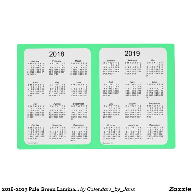 2018-2019 Pale Green Laminated Calendar by Janz Placemat