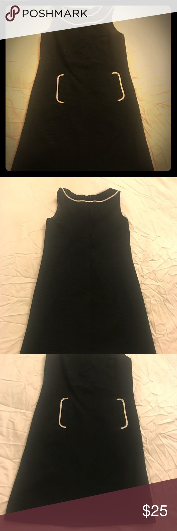 LOFT- sleeveless black dress with pockets Structured black dress with pockets. Works very well for work. Great condition. LOFT Dresses