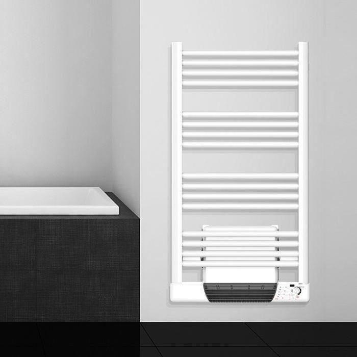 CARRERA Saturne Radiateur sèche serviettes - 500 + 1000 watts Technologie sans fluide - Garantie 2 ans - Thermostat €COPILOTE Mise à l'heure et horaires été/hiver automatiques - Soufflerie 1000 watts