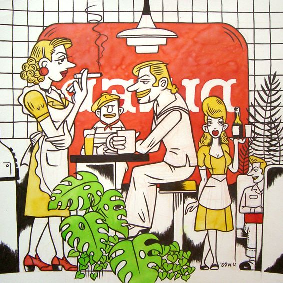"""at the diner"" 2012 acryic on paper"