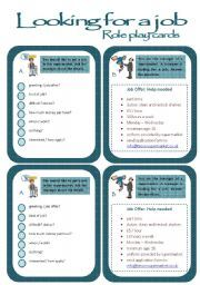 English worksheet: Role play cards series: A job interview ...