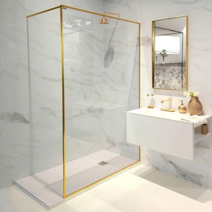 mampara de ducha con perfil dorado y decorado Capitoné de ...