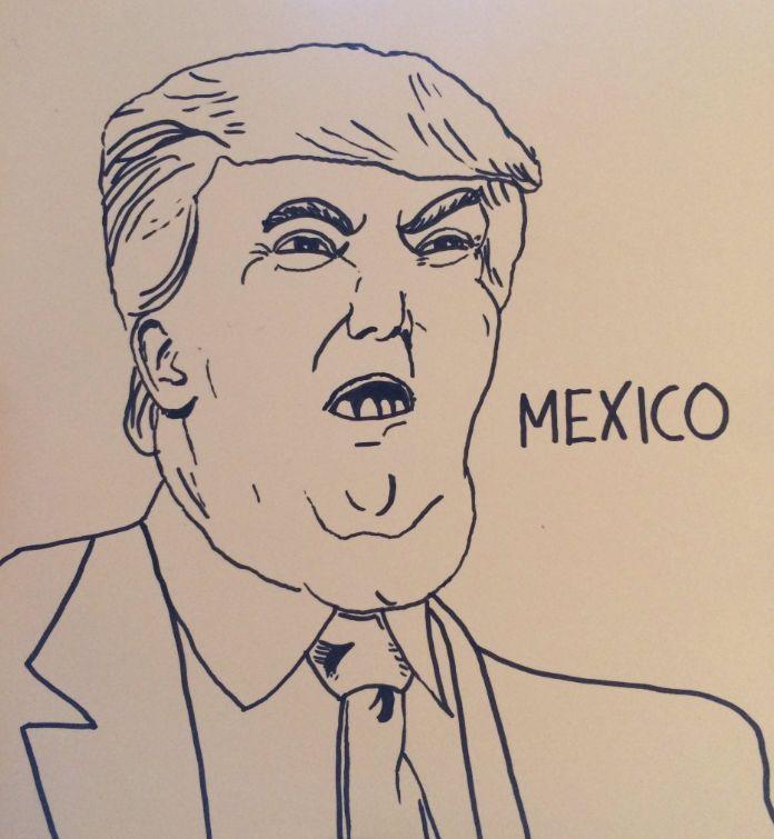 Donald Trump brush pen on card 696 x 755