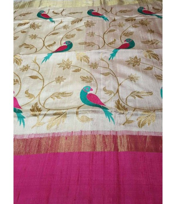 Cream Pink Banarasi Handloom Dupion Kora Silk Saree------------------------Ravishing attire to enhance your beauty. Be your own style diva with this cream pink banarasi silk saree This lovely attire is looking extra beautiful with gold zari and bird embroidery all over. -------------------------------Sarees from luxurionworld.com-------------------------- Whatsapp on +917710801701 to order