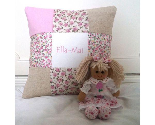 Pink name cushion and rag doll gift set.