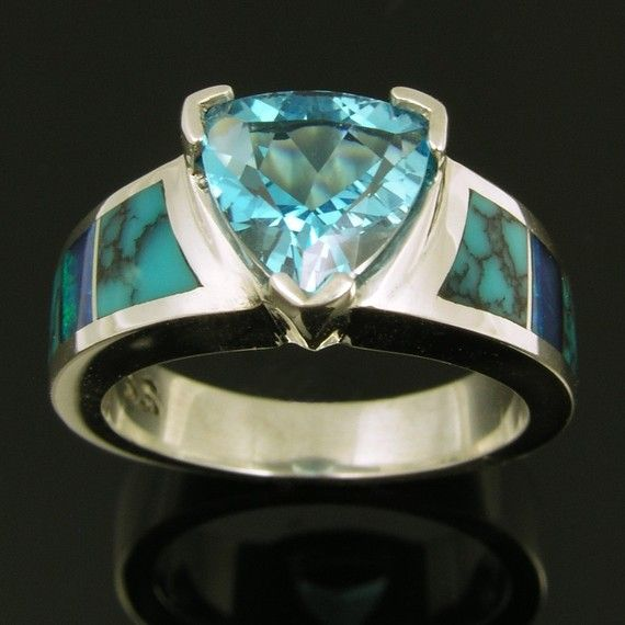 Australian opal and turquoise sterling silver ring