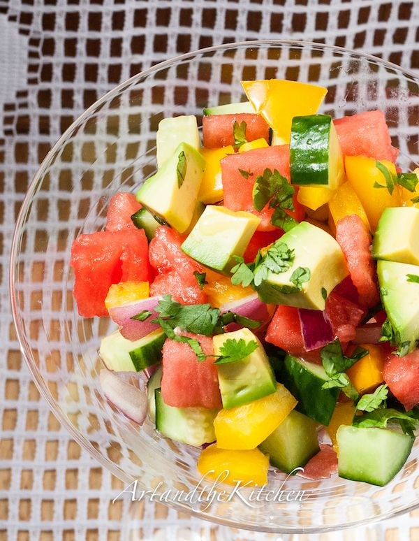 (Canada) Cucumber Watermelon Salad with Tequila citrus dressing.