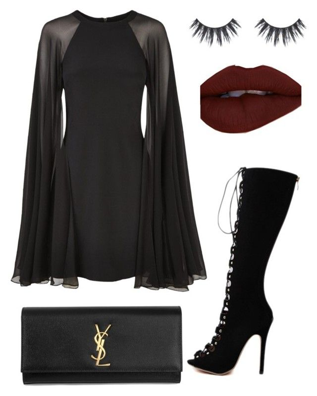 """""""Untitled #45"""" by kate-dcz ❤ liked on Polyvore featuring Karl Lagerfeld, WithChic and Yves Saint Laurent"""