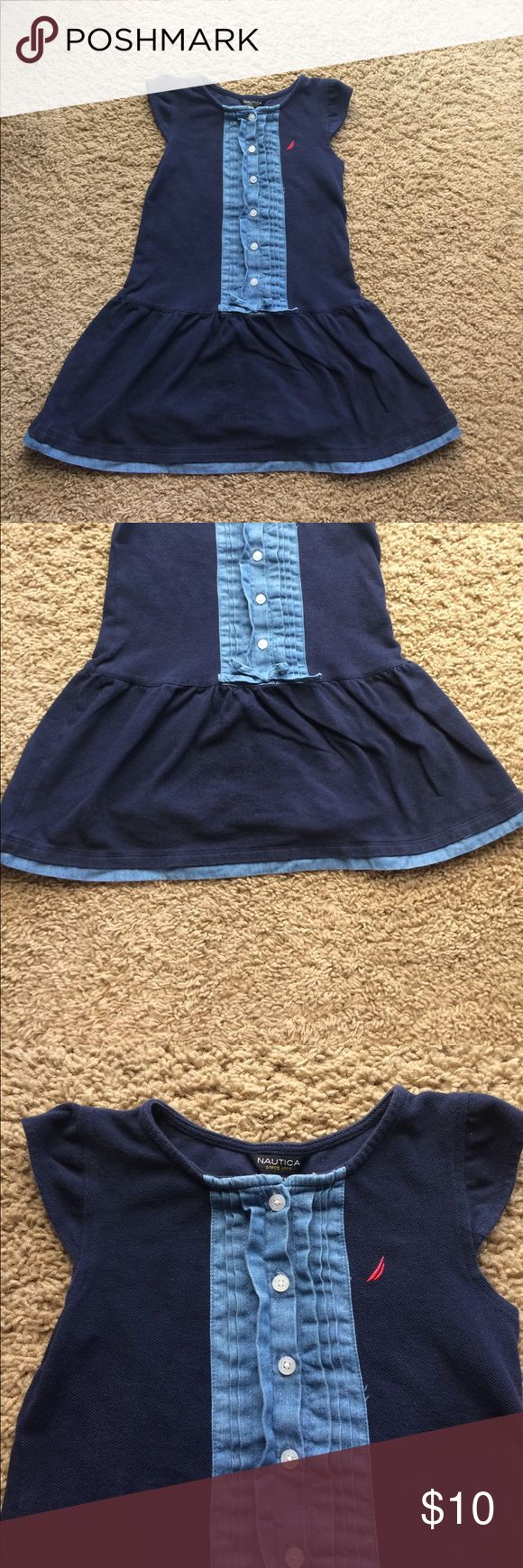 Beautiful navy  Nautica drop waist dress Navy drop waist dress with denim ruffle on front and bottom of skirt. Six buttons down front with bow . Worn just a few times, in perfect condition. Nautica Dresses Casual