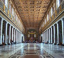 Basilica of Santa Maria Maggiore in Rome, said to be the most important church dedicated to the Virgin Mary in Western Christendom. The columns are not all alike. Most are marble. Four are granite and are said to have been taken from a pagan temple to Juno nearby.