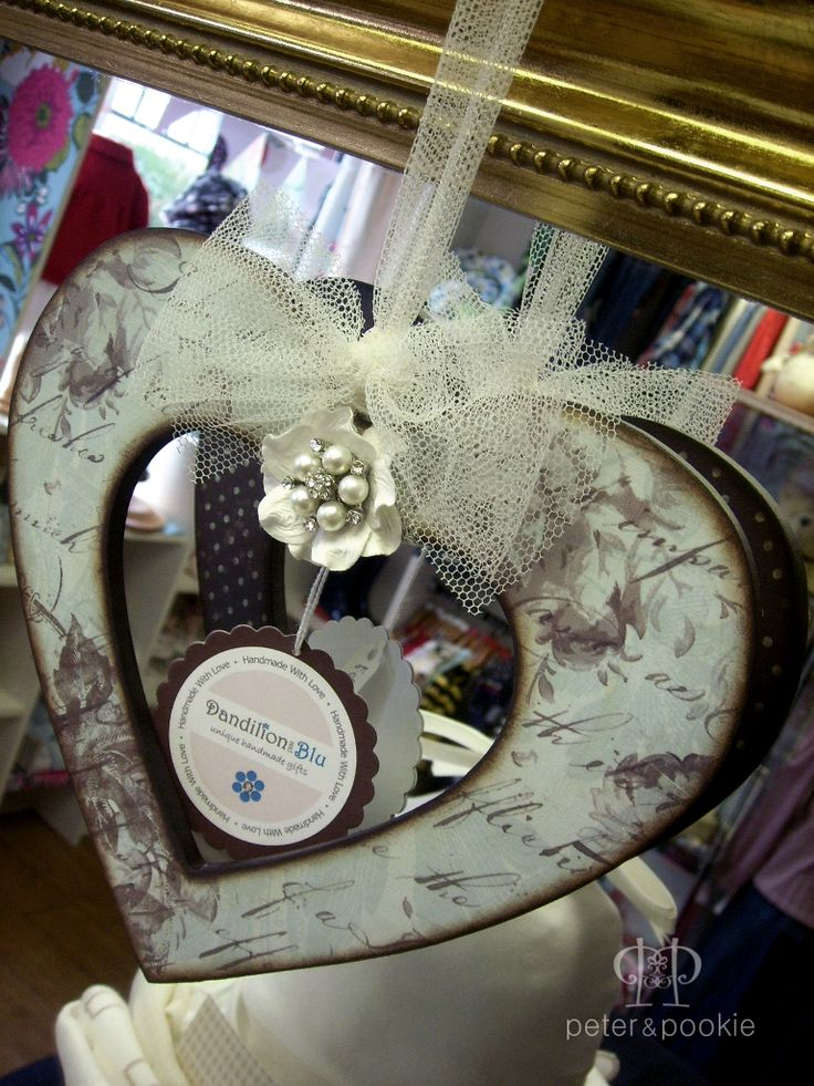Papered wooden heart By Dandilion and Blu. Available at Peter and Pookie ~ Price: £9.00