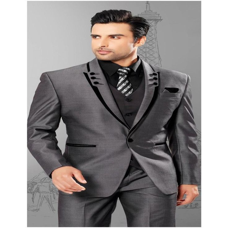Slim Fit Peaked Lapel .Men Suits Tuxedos Grey Wedding Suits For Men Groomsmen Suits One Button Mens 3 Piece Suits
