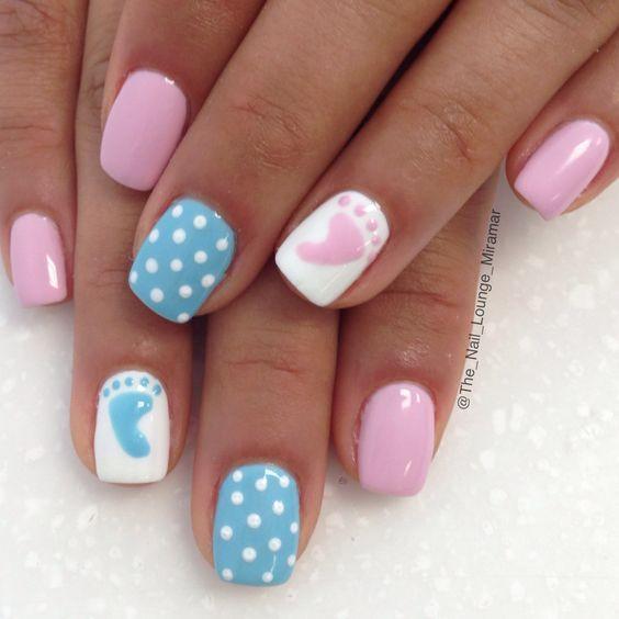 Baby shower theme nail art desifn