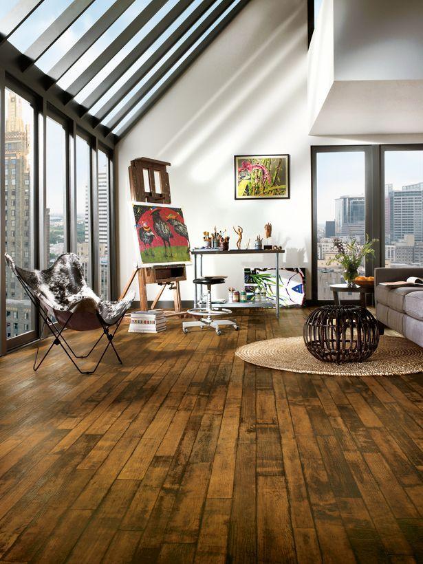 Vinyl floor that looks like wood! Waterproof, easy care. Great for bathrooms, I think.