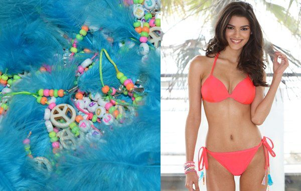 This beautiful hand-crafted Neon Raspberry Bikini comes teamed with little neon charms!