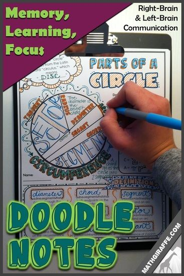 Doodle Notes for Math Class - amazing brain benefits for learning, focus, and memory because of the right brain / left brain crossover - plus mental connections, fun, and even decreased math anxiety! Very cool free downloads