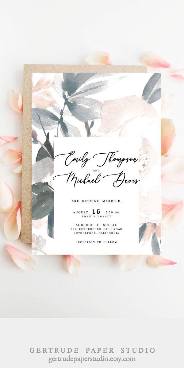 Romantic Wedding Invitations Blush Watercolor Simple Diy Elegant Templates Stat Blush Wedding Invitations Whimsical Wedding Invitations Wedding Invitations Diy
