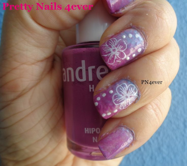 Pretty Nails 4ever - Unhas Degradê Roxas e Azuis decoradas com Flores - BPL-029