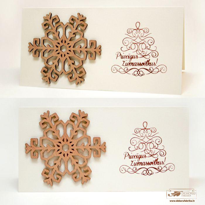 Christmas card with wooden snowflake http://www.dekorufabrika.lv/lv/online-store/details/120/12/dekori-decors/suven%C4%ABri-un-d%C4%81vanas-souvenirs-and-gifts/ziemassv%C4%93tku-karti%C5%86a-christmas-card