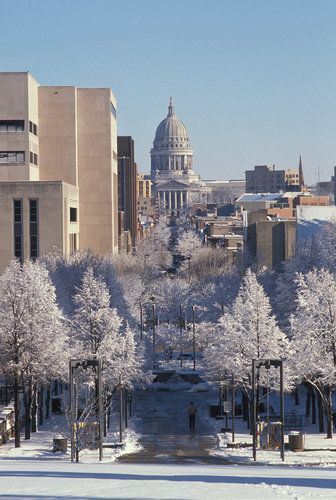 Winter in Madison. After the PATH + POINT, RUN HOME DOWN STATE STREET . FROM BASCOM HILL.